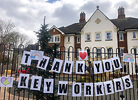 A sign is displayed outside of the Rye Valley nursing home thanking key workers in High Wycombe during the Covid-19 pandemic where the country is in a restricted lockdown. <br /> Photo by Andy Rowland on April 3rd 2020.