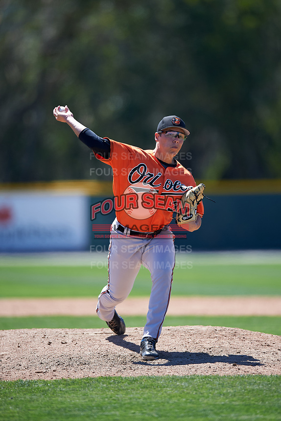 Baltimore Orioles pitcher James Teague (35) delivers a pitch during a minor league Spring Training game against the Boston Red Sox on March 16, 2017 at the Buck O'Neil Baseball Complex in Sarasota, Florida.  (Mike Janes/Four Seam Images)