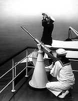 Anti-aircraft gun prcatice.  Photo taken on one of the converted yachts now being used in the Naval Reserve.  Ca.  1918.  Edwin Levick.  (War Dept.)<br />Exact Date Shot Unknown<br />NARA FILE #:  165-WW-324C-56<br />WAR & CONFLICT BOOK #:  481