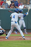 Diego Hernandez (4) of the Burlington Royals at bat against the Pulaski Yankees at Calfee Park on September 1, 2019 in Pulaski, Virginia. The Royals defeated the Yankees 5-4 in 17 innings. (Brian Westerholt/Four Seam Images)