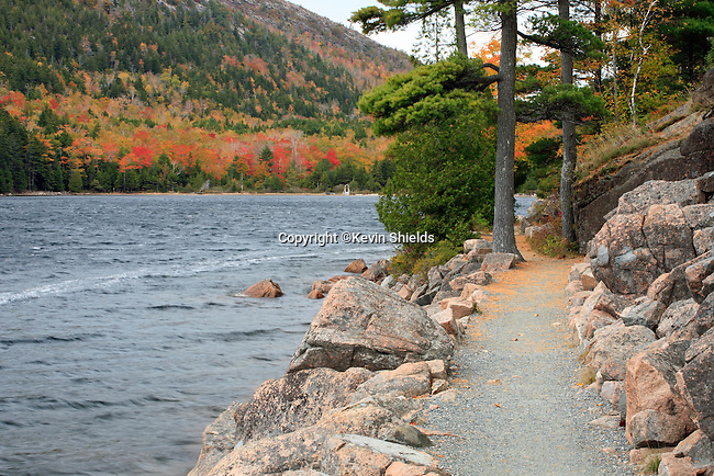 Fall view of a footpath around Jordan Pond, Acadia National Park, Maine, USA