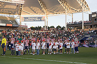 Chivas USA starting XI during the national anthem. Real Salt Lake defeated Chivas USA 1-0 at Home Depot Center stadium in Carson, California on Saturday, June 14, 2008.