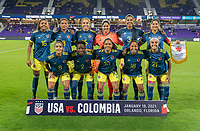 ORLANDO, FL - JANUARY 18: Colombia stands for their starting XI photo before a game between Colombia and USWNT at Exploria Stadium on January 18, 2021 in Orlando, Florida.