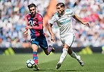 Theo Bernard Francois Hernandez Pi (R) of Real Madrid fights for the ball with David Remeseiro Salgueiro, Jason, (L) of Levante UD during the La Liga match between Real Madrid and Levante UD at the Estadio Santiago Bernabeu on 09 September 2017 in Madrid, Spain. Photo by Diego Gonzalez / Power Sport Images