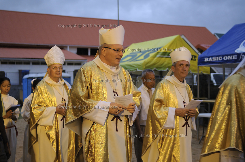 First holy walk around the ST. Petrus and Paulus Cathedral before Bishop of Paramaribo Monseigneur Wilhelmus Adrianus Josephus Maria de Bekker's traditional door knocking.....Blessing and First Worship of ST. Petrus and Paulus Cathedral (AKA World's largest wooden cathedral)