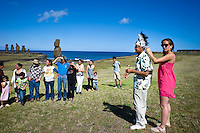 Rapa Nui, Easter island, oct 2011. In Rapa Nui, also called Easter Island, the  king of the original people is back after a hundred years RirorokoTuki Valentino, the new monarch, is  an old man who has made his living as a farmer and fisherman and  traveled the world as a ship´s stowaways . <br /> He lives in a modest house in a rural area of the island near their 8 children and 24grandchildren.<br /> He was proclaimed King by the Assembly of Rapa Nui in July, and his reign has aunique purpose:  to finish with the Treaty of Wills from  1888, by which Chile took possession of Easter Island. The demand for Valentino and people ask seeks for Independence and also a billionare suit against Chilean state  for a century of apartheid and discrimination.