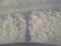 Spectacular cloud formations viewed from 35000 feet altitude.