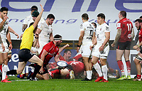 11 December 2020; Rob Herring scores Ulsters first try during the Heineken Champions Cup Pool B Round 1 match between Ulster and Toulouse at Kingspan Stadium in Belfast. Photo by John Dickson/Dicksondigital