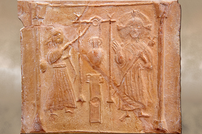 Detail of a 6th-7th Century Eastern Roman Byzantine Christian Terracotta tiles depicting Christ changing Water into wine - Produced in Byzacena -  present day Tunisia. <br /> <br /> These early Christian terracotta tiles were mass produced thanks to moulds. Their quadrangular, square or rectangular shape as well as the standardised sizes in use in the different regions were determined by their architectonic function and were designed to facilitate their assembly according to various combinations to decorate large flat surfaces of walls or ceilings. <br /> <br /> Byzacena stood out for its use of biblical and hagiographic themes and a richer variety of animals, birds and roses. Some deer and lions were obviously inspired from Zeugitana prototypes attesting to the pre-existence of this province's production with respect to that of Byzacena. The rules governing this art are similar to those that applied to late Roman and Christian art with, in the case of Byzacena, an obvious popular connotation. Its distinguishing features are flatness, a predilection for symmetrical compositions, frontal and lateral representations, the absence of tridimensional attitudes and the naivety of some details (large eyes, pointed chins). Mass production enabled this type of decoration to be widely used at little cost and it played a role as ideograms and for teaching catechism through pictures. Painting, now often faded, enhanced motifs in relief or enriched them with additional details to break their repetitive monotony.<br /> <br /> The Bardo National Museum Tunis, Tunisia