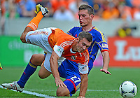 April 28, 2013: Houston Dynamo forward Will Bruin #12 and Colorado Rapids mid fielder Shane O'Neill #27 during Major League Soccer match in Houston  {sate}. Houston Dynamo draw 1-1 against Colorado Rapids.