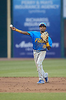 Myrtle Beach Pelicans shortstop Yeison Santana (16) makes a throw to first base against the Lynchburg Hillcats at Bank of the James Stadium on May 22, 2021 in Lynchburg, Virginia. (Brian Westerholt/Four Seam Images)
