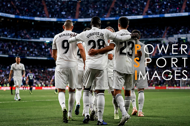 Vinicius Junior of Real Madrid celebrates scoring his goal with teammates during the La Liga 2018-19 match between Real Madrid and Real Valladolid at Estadio Santiago Bernabeu on November 03 2018 in Madrid, Spain. Photo by Diego Souto / Power Sport Images