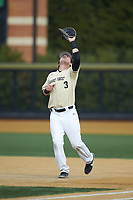 Wake Forest Demon Deacons first baseman Bobby Seymour (3) settles under a pop fly during the game against the Notre Dame Fighting Irish at David F. Couch Ballpark on March 10, 2019 in  Winston-Salem, North Carolina. The Demon Deacons defeated the Fighting Irish 7-4 in game one of a double-header.  (Brian Westerholt/Four Seam Images)