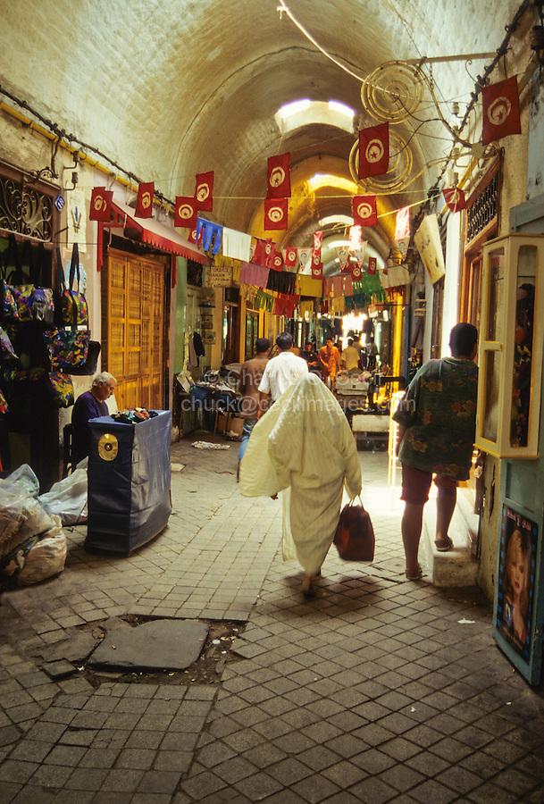Tunisia.  Tunis Medina.  Street Scene in Vaulted Passageway.