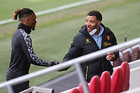 Ivan Toney of Brentford and Watford's Troy Deeney shake hands ahead of kick-off. Both players have been the subject of racist online abuse via social media in the past few months during Brentford vs Watford, Sky Bet EFL Championship Football at the Brentford Community Stadium on 1st May 2021