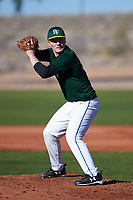 Tyler Peterson (54), from Minneapolis, Minnesota, while playing for the Athletics during the Under Armour Baseball Factory Recruiting Classic at Red Mountain Baseball Complex on December 28, 2017 in Mesa, Arizona. (Zachary Lucy/Four Seam Images)