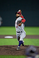Mahoning Valley Scrappers pitcher Serafino Brito (37) during a NY-Penn League game against the Auburn Doubledays on August 27, 2019 at Falcon Park in Auburn, New York.  Auburn defeated Mahoning Valley 3-2 in ten innings.  (Mike Janes/Four Seam Images)