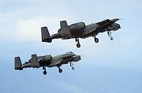 - coppia di aerei anticarro A 10 in decollo dalla base aerea USA di Aviano (Pordenone)....- couple of antitank A 10 aircrafts  take-off from the.. US aerial base of Aviano  (Pordenone, Italy)..