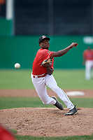 Batavia Muckdogs relief pitcher C.J. Carter (11) delivers a pitch during a game against the Lowell Spinners on July 15, 2018 at Dwyer Stadium in Batavia, New York.  Lowell defeated Batavia 6-2.  (Mike Janes/Four Seam Images)