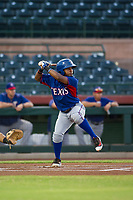 AZL Rangers second baseman Yonny Hernandez (59) at bat against the AZL Giants on August 22 at Scottsdale Stadium in Scottsdale, Arizona. AZL Rangers defeated the AZL Giants 7-5. (Zachary Lucy/Four Seam Images via AP Images)