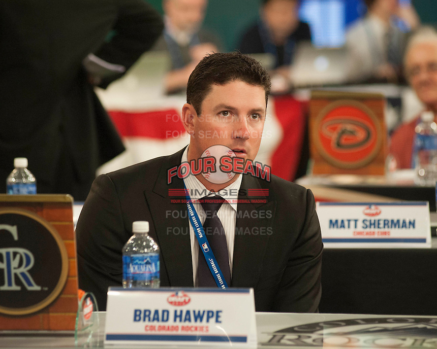 Former Colorado Rockies outfielder Brad Hawpe during the MLB Draft on Thursday June 05,2014 at Studio 42 in Secaucus, NJ.   (Tomasso DeRosa/ Four Seam Images)