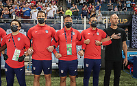 KANSAS CITY, KS - JULY 15: Head coach of USA Gregg Berhalter and his bench during a game between Martinique and USMNT at Children's Mercy Park on July 15, 2021 in Kansas City, Kansas.
