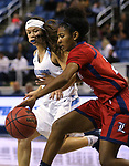 Liberty's Trinity Vasquez dribbles around Centennial defender Melanie Isbell during the NIAA state basketball tournament in Reno, Nev., on Friday, Feb. 23, 2018. Centennial won the title, 74-65 in overtime. Cathleen Allison/Las Vegas Review-Journal