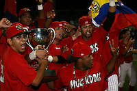 September 15 2008:  Rigoberto Lugo, Hector Cardenas, Frederick Parejo, Jose Garcia, Miguel Tapia of the Batavia Muckdogs, Class-A affiliate of the St. Louis Cardinals, celebrate winning the NY-Penn League championship after a game at Dwyer Stadium in Batavia, NY.  Photo by:  Mike Janes/Four Seam Images