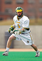 10 April 2007: University of Vermont Catamounts' Ryan Gillette, a Freshman from Lowville, NY, in action against the Holy Cross Crusaders at Moulton Winder Field, in Burlington, Vermont. The Crusaders rallied to defeat the Catamounts 5-4...Mandatory Photo Credit: Ed Wolfstein Photo