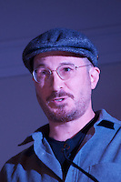 Darren Aronofsky, film director, screenwriter, film producer and environmentalist at launch of Harvard Heat Week calling on Harvard University to divest from Fossil Fuels at First Parish Church Cambridge MA 4.12.15