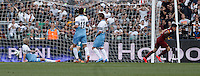 Calcio, Serie A: Lazio vs Roma. Roma, stadio Olimpico, 25 maggio 2015.<br /> Roma's Juan Iturbe, right, celebrates after scoring during the Italian Serie A football match between Lazio and Roma at Rome's Olympic stadium, 25 May 2015.<br /> UPDATE IMAGES PRESS/Isabella Bonotto