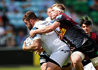 29th May 2021; Twickenham Stoop, London, England; English Premiership Rugby, Harlequins versus Bath; Jamie Bhatti of Bath taking the ball forward under pressure from Alex Dombrandt of Harlequins