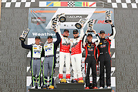 #60 Roush Performance / KohR Motorsports, Ford Mustang GT4, GS: Nate Stacy, Kyle Marcelli, podium, #8 Multimatic Motorsports, Ford Mustang GT4, GS: Chad McCumbee, Patrick Gallagher, #82 BimmerWorld Racing, BMW M4 GT4, GS: James Clay, Tyler Cooke
