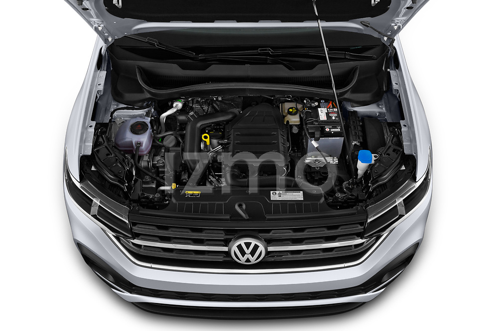 Car Stock 2019 Volkswagen T-Cross Life 5 Door SUV Engine  high angle detail view
