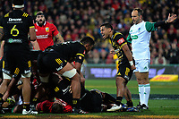 Te Toiroa Tahuriorangi celebrates winning a scrum during the 2017 DHL Lions Series rugby match between the Hurricanes and British & Irish Lions at Westpac Stadium in Wellington, New Zealand on Tuesday, 27 June 2017. Photo: Dave Lintott / lintottphoto.co.nz