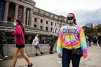 NEW YORK, NY - OCTOBER 24: A woman wears a Biden sweater and a face mask with the word vote next to the Brooklyn Museum during early voting for the United States presidential election on October 24, 2020 in the city from New York. Due to concerns about the coronavirus and social distancing, New York State is allowing early voting for the first time to protect voters from new infections in the city (Photo by Pablo Monsalve / VIEWpress via Getty Images)