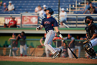 Lowell Spinners Wil Dalton (18) hits a home run during a NY-Penn League game against the Batavia Muckdogs on July 10, 2019 at Dwyer Stadium in Batavia, New York.  Batavia defeated Lowell 8-6.  (Mike Janes/Four Seam Images)