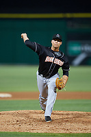 Jupiter Hammerheads relief pitcher Vincenzo Aiello (15) delivers a pitch during a game against the Clearwater Threshers on April 12, 2018 at Spectrum Field in Clearwater, Florida.  Jupiter defeated Clearwater 8-4.  (Mike Janes/Four Seam Images)