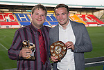 St Johnstone Player of the Year Awards 2014-15.....16.05.15<br /> Peter Holden presents the We Are Perth Young Player of the Year Awards to Chris Kane<br /> Picture by Graeme Hart.<br /> Copyright Perthshire Picture Agency<br /> Tel: 01738 623350  Mobile: 07990 594431