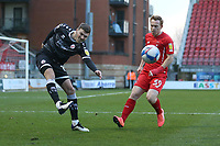 Jordan Tunnicliffe of Crawley Town and Danny Johnson of Leyton Orient during Leyton Orient vs Crawley Town, Sky Bet EFL League 2 Football at The Breyer Group Stadium on 19th December 2020