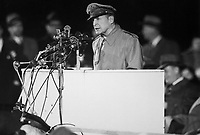 Gen. Douglas MacArthur addressing an audience of 50,000 at Soldier's Field, Chicago, on his first visit to the United States in 14 years, April 1951.  Acme. (USIA)<br /> Exact Date Shot Unknown