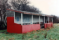 Main stand at Ongar Town Football Club, Love Lane, Ongar, Essex pictured on 5th October 1987
