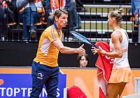 Den Bosch, The Netherlands, Februari 9, 2019,  Maaspoort , FedCup  Netherlands - Canada, second match : Arantxa Rus  (NED) and captain Paul Haarhuis<br /> Photo: Tennisimages/Henk Koster