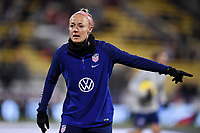 COLUMBUS, OH - NOVEMBER 07: Becky Sauerbrunn #4 of the United States warming up during a game between Sweden and USWNT at MAPFRE Stadium on November 07, 2019 in Columbus, Ohio.