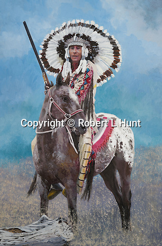 """Native American Sioux chief in traditional feather warbonnet headress, mounted on his Appaloosa horse. Title: """"Celebration Day"""", oil on canvas, 30"""" x 20""""."""