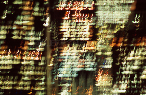 Blurred Motion View of World Trade Center and Lower Manhattan at Night - September 2000, New York City, New York State, USA