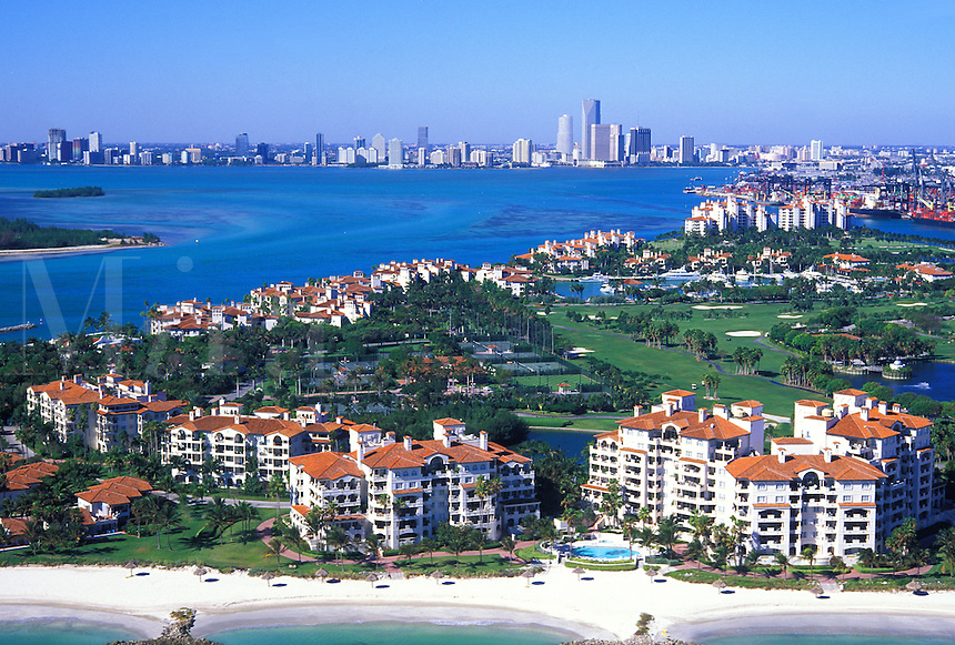 aerial condos on Fishers Island near Miami Florida