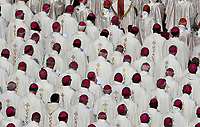 Bishops and Cardinals attend a canonization mass in St. Peter's Square at the Vatican, on October 14, 2018.<br /> UPDATE IMAGES PRESS/Isabella Bonotto<br /> <br /> STRICTLY ONLY FOR EDITORIAL USE