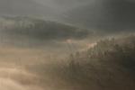 Israel, Jerusalem Mountains. Fog in Wadi Sorek, a view from Sataf