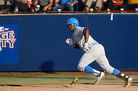 Brenton Allen #23 of the UCLA Bruins bats against the Cal State Fullerton Titans during the NCAA Super Regional at Goodwin Field on June 7, 2013 in Fullerton, California. UCLA defeated Cal State Fullerton, 5-3. (Larry Goren/Four Seam Images)